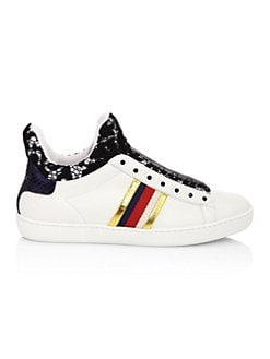 8fa1625b1f7f Gucci New Ace Lace-Detail Leather High-Top Sneakers