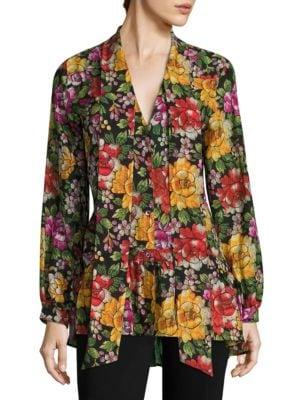 Floral-Print Silk Tie-Neck Blouse by Etro