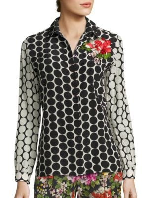 Flower-Embroidered Polka Dot Silk Shirt by Etro