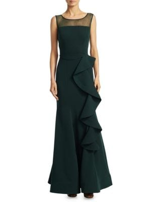 NERO BY JATIN VARMA Cascade Ruffled Floor-Length Gown in Hunter