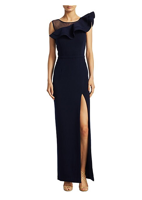"Image of Column gown finished with ruffle detail. Roundneck. Sleeveless. Concealed back zip. About 61"" from shoulder to hem. Polyester/spandex. Dry clean. Imported. Model shown is 5'10"" (177cm) wearing US size 4."