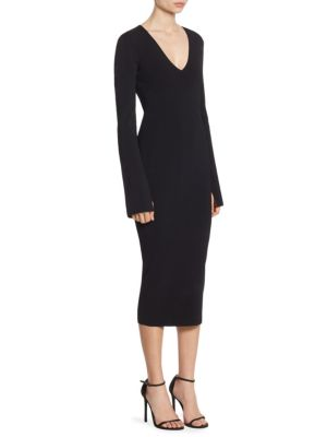 Raina Deep V Neck Slit Bell Sleeve Knit Dress by Solace London