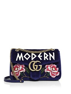 fc85d1aa1da Gucci - GG Marmont Medium Embroidered Velvet Chain Shoulder Bag
