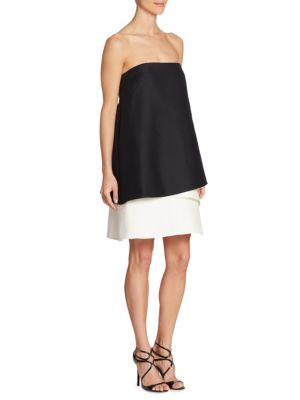 Image of Strapless Tiered Colorblock Dress
