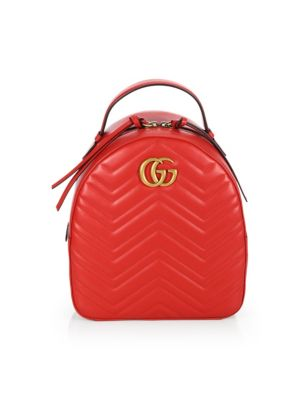 Gg Marmont Chevron Quilted Leather Mini Backpack, Hibiscus Red
