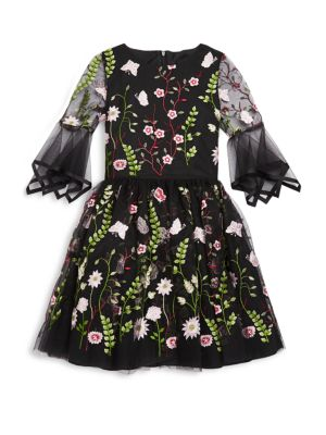 Girls Embroidered Floral Dress