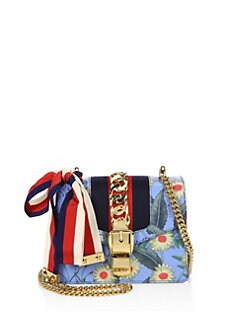 7500a12efd88 Gucci Sylvie Flora Leather Mini Chain Shoulder Bag from Saks Fifth ...