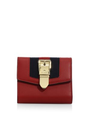 Sylvie Canvas-Trimmed Leather Wallet in Red