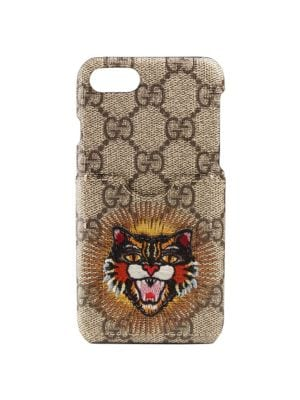 Embroidered Angry Cat Gg Supreme Iphone 7 Case, Beige