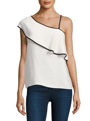Ruffle One Shoulder Silk Top by Red Haute
