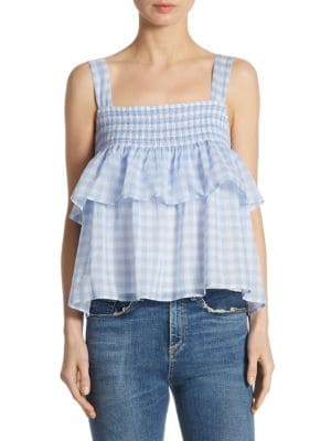Coral Gingham Cotton Top by Rebecca Minkoff