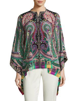 Paisley-Print Silk Poncho Blouse by Etro