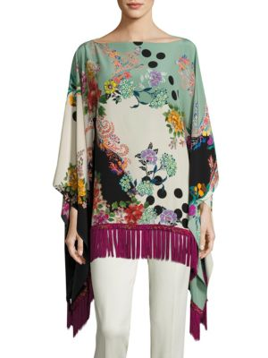 Printed Silk Fringed Poncho by Etro