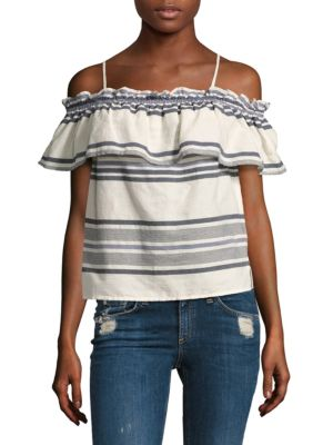 Striped Ruffle Off-the-shoulder Top by Splendid
