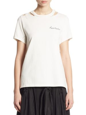 Bretta Embroidered Distressed Tee by