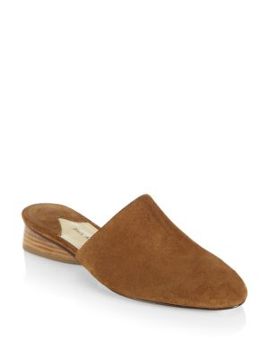 Pisa Suede Backless Loafers, Saddle