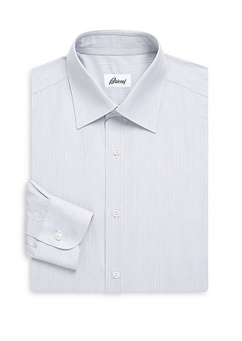 Image of Dress shirt tailored from cotton with allover stripes. Spread collar. Long sleeves. Button front. Buttoned barrel cuffs. Regular-fit. Cotton. Dry clean. Made in Italy.