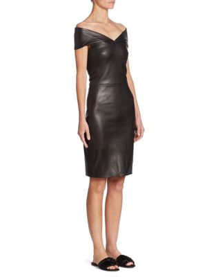 Pierre Off-The-Shoulder Leather Dress