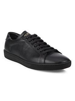 SAINT LAURENT - Lace-Up Leather Sneakers