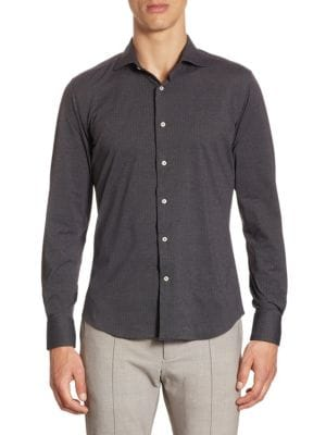 Saks Fifth Avenue  Herringbone Stretch Dress Shirt