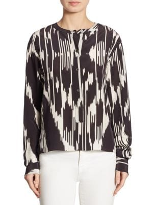Isalva Interlace Ikat Silk Top by Theory