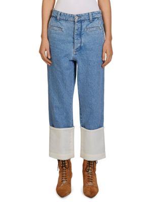Fisherman Cotton Poplin-Paneled Cropped Boyfriend Jeans in Indigo
