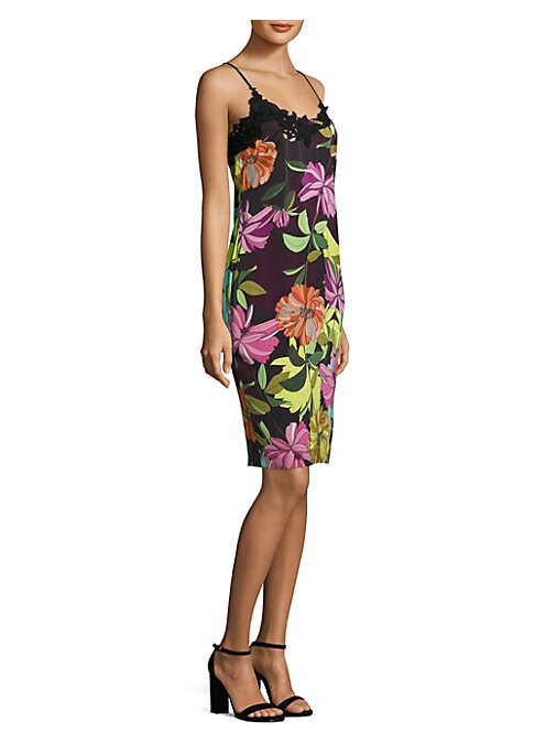 """Image of Sleeveless dress with allover floral-print and lace detail. Scoopneck. Sleeveless. Concealed back zip. Back slit. Lined. About 39"""" from shoulder to hem. Rayon. Dry clean. Imported. Model shown is 5'10"""" (177cm) wearing US size 4."""