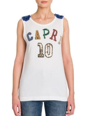 Embroidered Capri Tank Top by Dolce & Gabbana