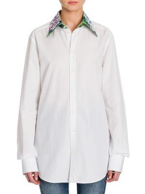 Floral-Print Collar Poplin Shirt by Dolce & Gabbana
