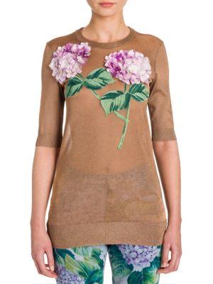 Hydrangea-Embroidered Lurex Knit by Dolce & Gabbana