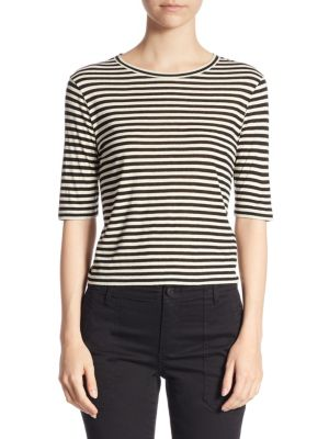 Striped Cropped Tee by Vince
