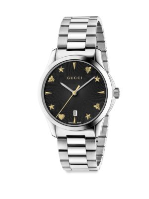 """Image of Stainless steel bracelet watch with sapphire crystals. Swiss quartz movement. Water resistant to 5 ATM. Round stainless steel case, 38mm (1.5"""").Sapphire crystal. Black dial. Date display at 3 o'clock. Stainless steel bracelet. Push-button folding clasp cl"""