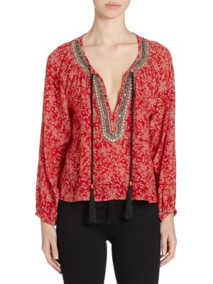 Embellished Floral-Print Silk Top by The Kooples