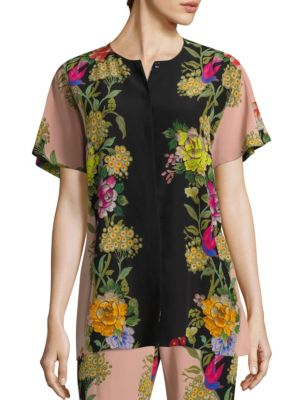 Butterfly Floral Silk Button-Down Blouse by Etro