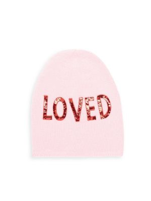 Sequin Embroidered Loved Knit Hat In Pink