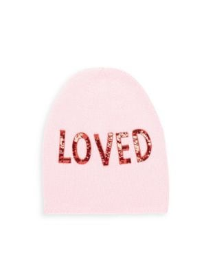 Sequin Embroidered Loved Knit Hat In Pink, Rose