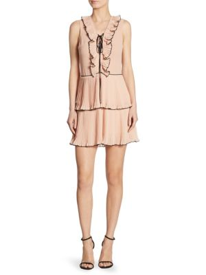 Kiki Pleated Lace-Up Dress, Blush