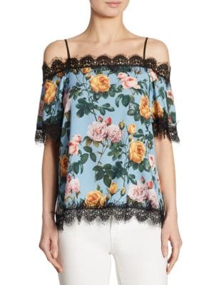 Lucy Lace-Trim Cold-Shoulder Top by Delfi Collective