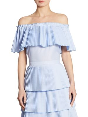 Luella Pleated Off-The-Shoulder Poplin Top by Delfi Collective
