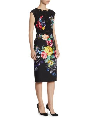 "Image of Classic dress with lace and floral pattern. Crewneck. Cap sleeves. Concealed back zip. Lined. About 43"" from shoulder to hem. Polyester. Dry clean. Imported. Model shown is 5'10"" (177cm) wearing US size 4."