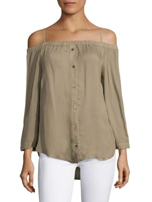 Off-the-Shoulder Button-Down Blouse by Bella Dahl