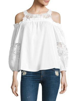 Auburn Cotton Lace Cold Shoulder Blouse by Parker