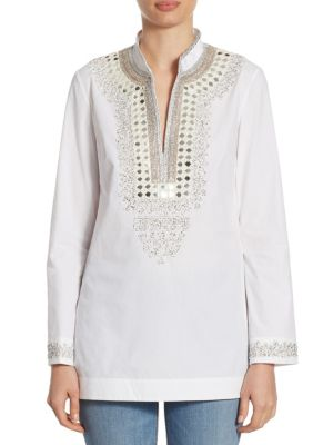 Embellished V-Neck Tunic by Tory Burch
