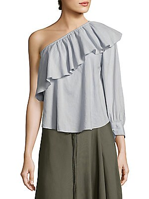 """Image of One-shoulder ruffled top offers feminine elegance Asymmetrical neckline One long sleeve with banded cuffs Curved hem Pullover style About 23"""" from shoulder to hem Cotton/silk Dry clean Imported Model shown is 5'10"""" (177cm) wearing US size 4. Contemporary"""