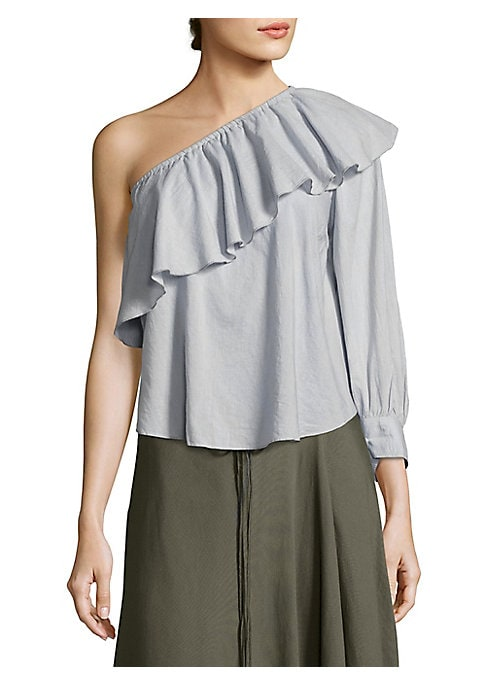 """Image of One-shoulder ruffled top offers feminine elegance. Asymmetrical neckline. One long sleeve with banded cuffs. Curved hem. Pullover style. About 23"""" from shoulder to hem. Cotton/silk. Dry clean. Imported. Model shown is 5'10"""" (177cm) wearing US size 4."""