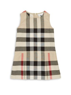 Image of .Checkered cotton dress featuring pleated skirt. .Crewneck. .Sleeveless. .Concealed zip back. .Cotton. .Machine wash. .Imported. .