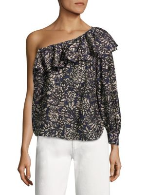 "Image of Painterly floral prints adorn this ruffled cotton top. One-shoulder neckline. Long sleeve with buttoned bergamot cuff. Pullover style. About 23"" from shoulder to hem. Cotton. Machine wash. Imported. Model shown is 5'10"" (177cm) wearing US size 4."