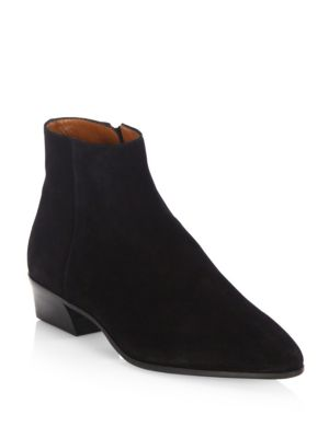 AQUATALIA Women'S Fuoco Pointed Toe Suede Booties in Black Leather