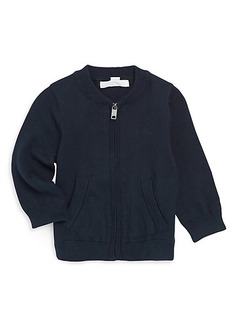 Image of .Cotton jacket featuring chest embroidered logo. .Stand collar. .Long sleeves. .Rib-knit cuffs and hem. .Front split kangaroo pocket. .Cotton. .Hand wash. .Imported. .