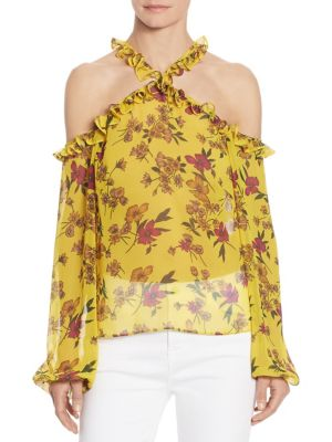 Ruffled Cold-Shoulder Floral-Print Blouse by Scripted